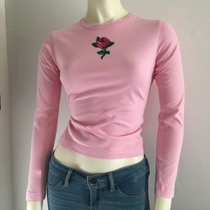 Light pink long sleeve top with embroidered rose S